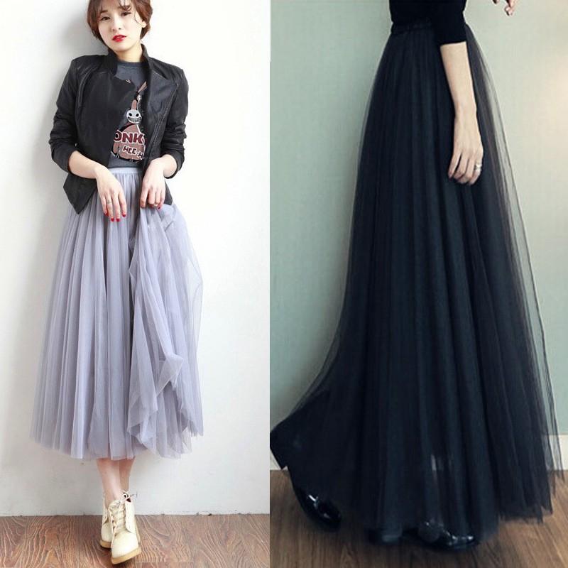 Chân váy xòe 3 lớp lưng cao thời trang thanh lịch dành cho nữ