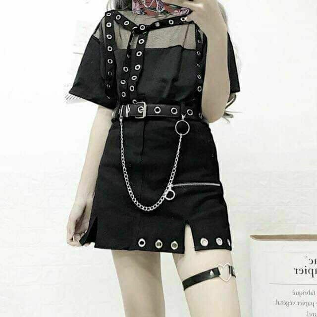 set chân váy ulzzang chain chocker belt chain0