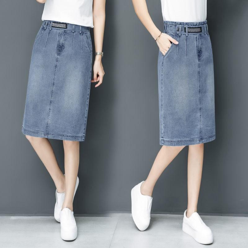 Chân Váy Denim Lưng Cao Size Lớn Xinh Xắn Dành Cho Nữ 2020