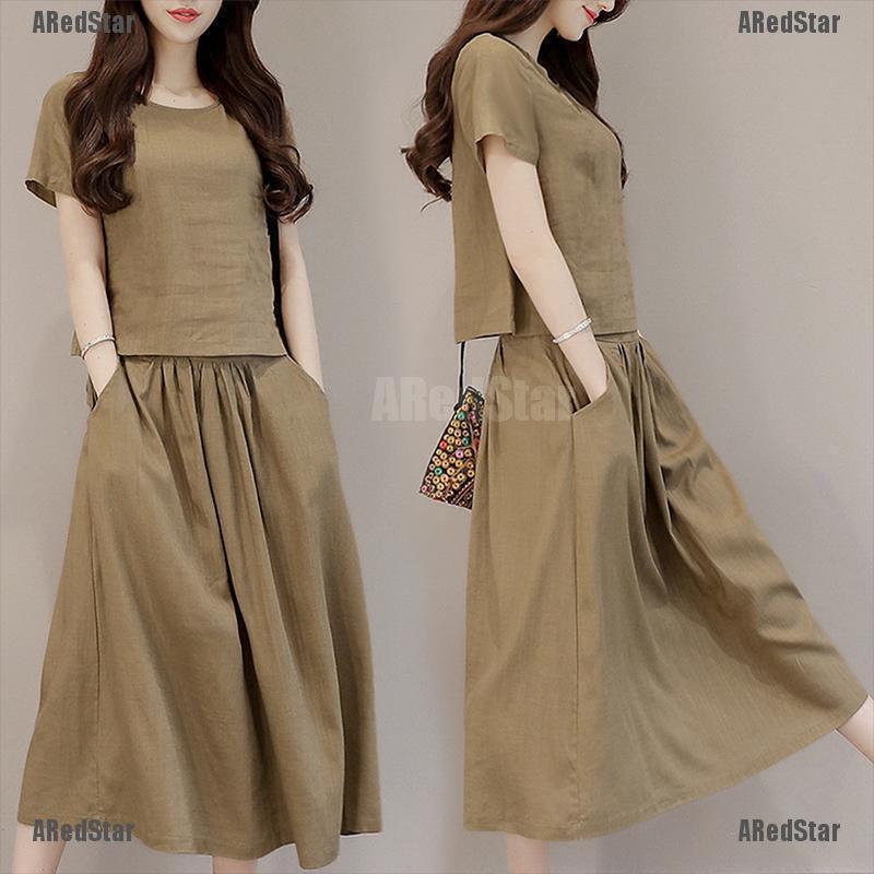 Set Áo Thun Ngắn Tay + Chân Váy Thời Trang Cho Nữ
