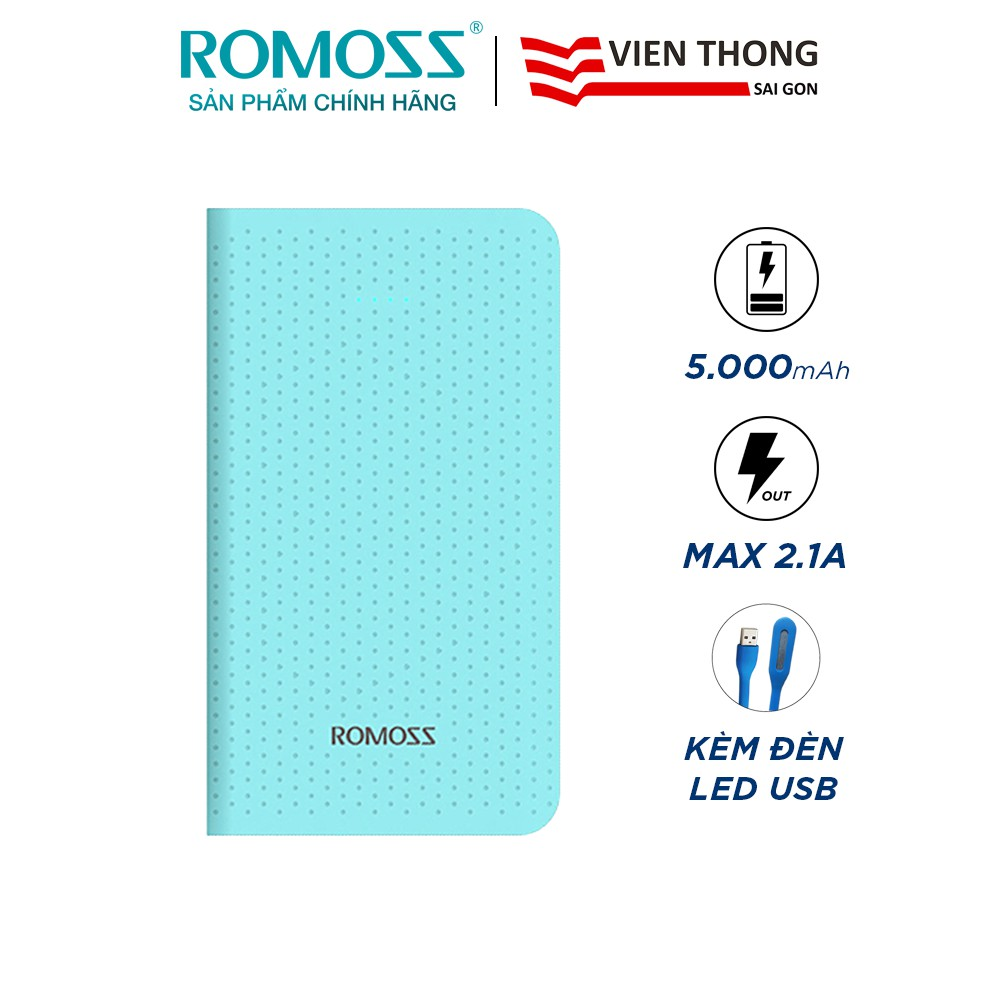 Pin sạc dự phòng Romoss Sense mini 5.000mAh hỗ trợ sạc nhanh 2.1A (Xanh) tặng Đèn LED cổng USB