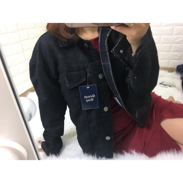 Áo khoác jean nữ màu đen-túi trong