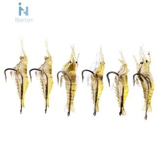[Nor]6pcs Shrimp Fishing Simulation Soft Prawn Lure Hook Tackle Bait Lures