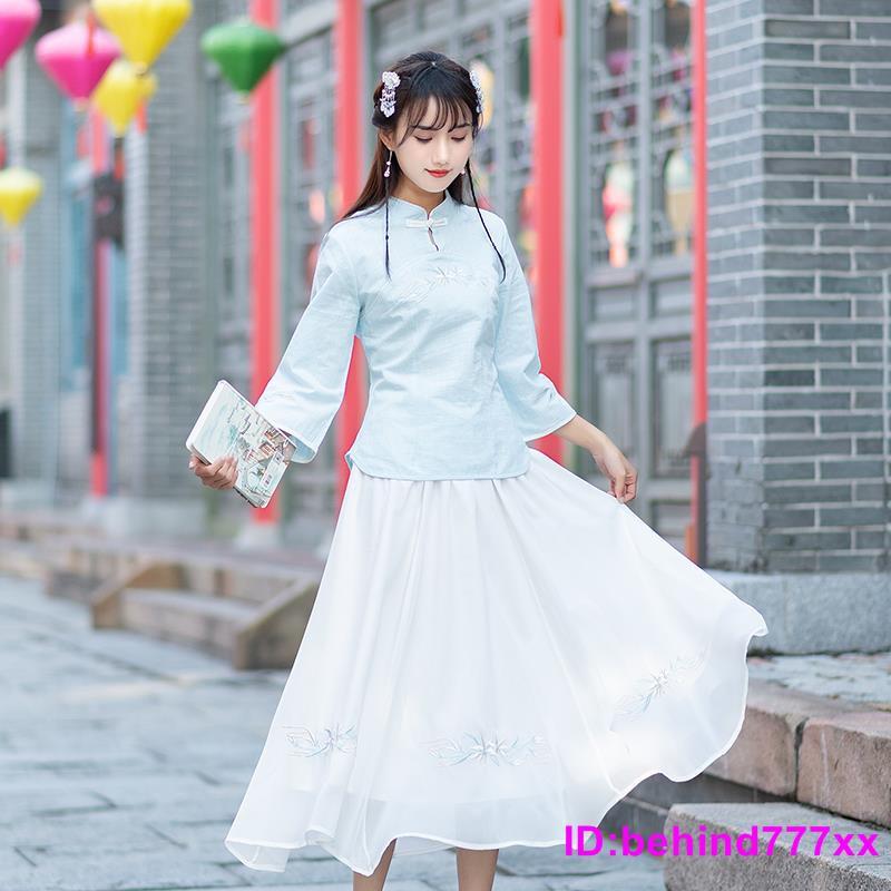 Bộ Áo Kiểu Thêu Họa Tiết Tre + Chân Váy Xinh Xắn Theo Phong Cách Xuân Hè 2020
