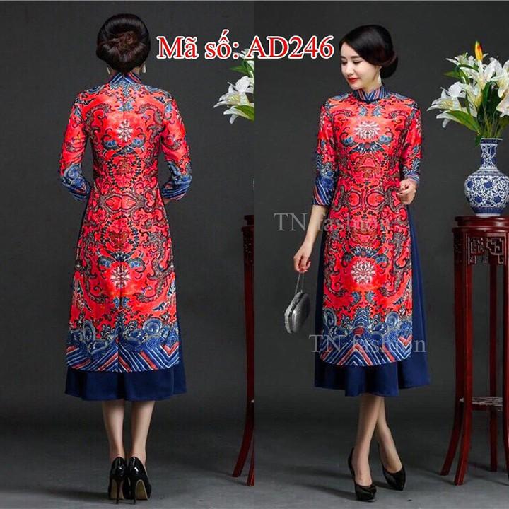Có size lớn 4XL Set Áo Dài Cách Tân CỔ TRỤ HỌA TIẾT THỔ CẨM Rồng kèm váy áo nền đỏ
