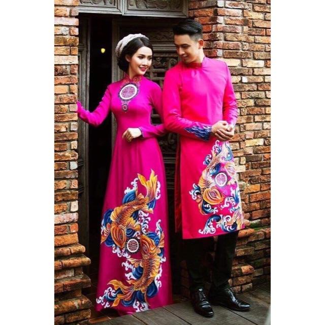 Cặp áo dài cưới hồng