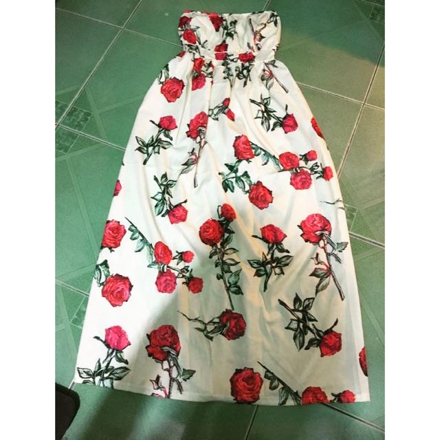 đầm maxi hoa( hình chụp thật)