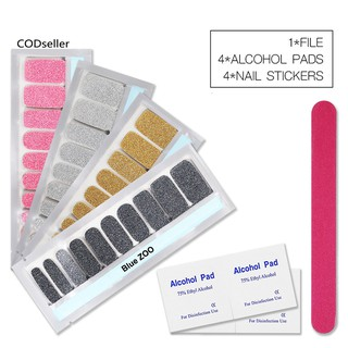 COD_4Sheets Glitter Solid Color Nail Stickers with Alcohol Pad File Polish Strips