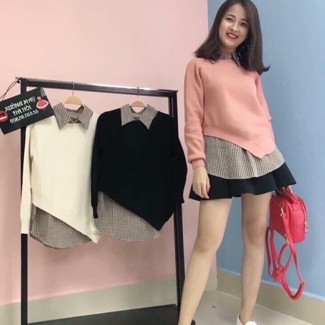Combo set áo len + chân váy