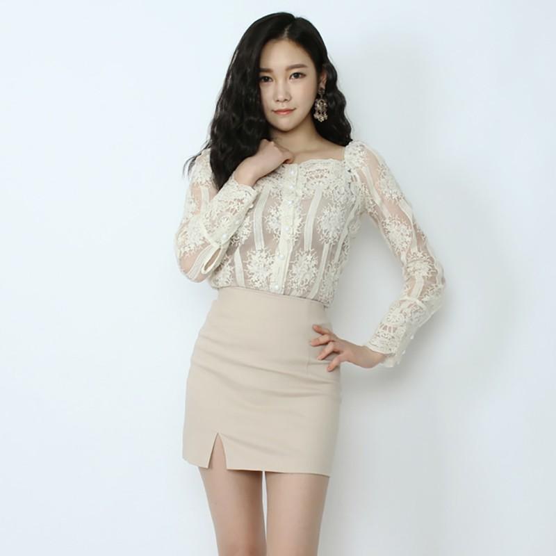 Chân Váy Lưng Cao Xẻ Tà Thời Trang Mùa Xuân Hàn Quốc Cho Nữ