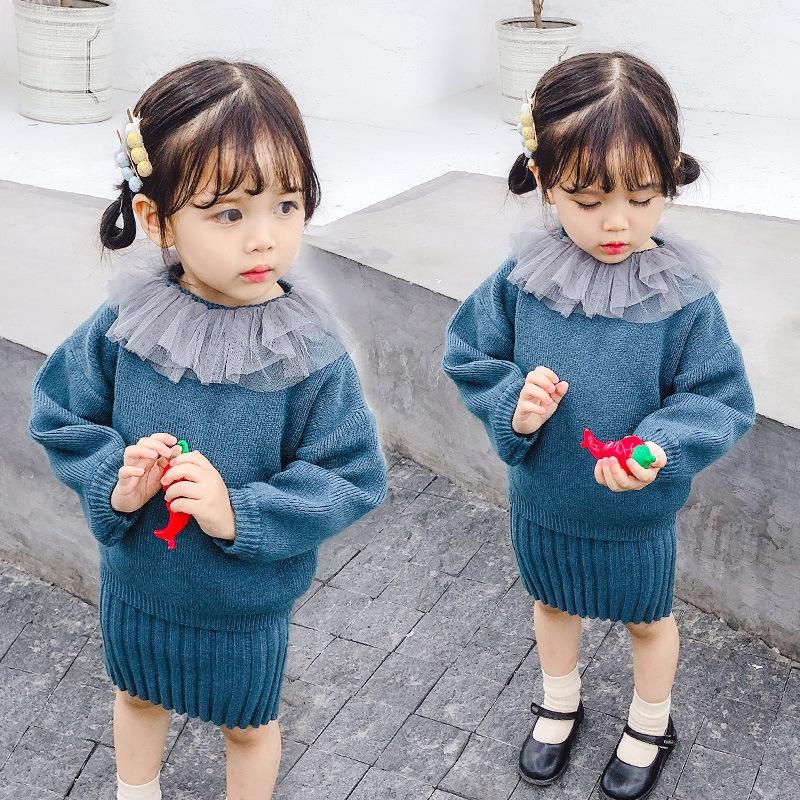 Bộ Áo Sweater Dài Tay + Chân Váy Xinh Xắn Dành Cho Bé Gái