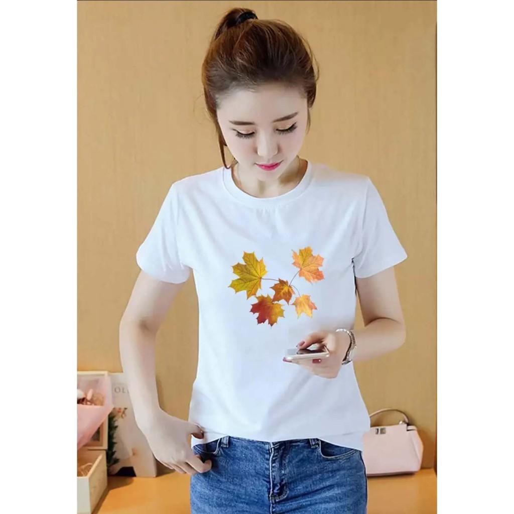 áo thun nữ Hàn Quốc in hình 5 lá Phong dễ thương, vải dày mịn mát