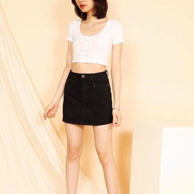 Chân váy jean đen trắng
