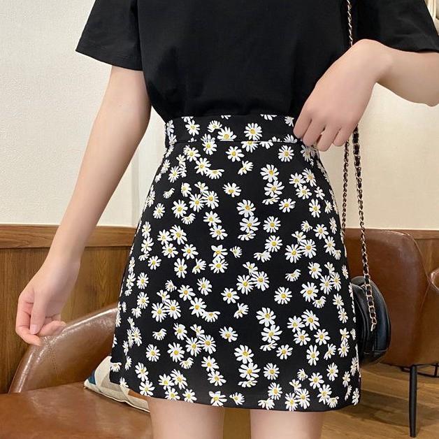 Chân váy chữ A lưng cao in họa tiết hoa xinh xắn thời trang cho nữ