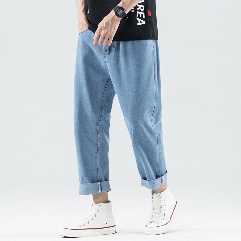 Quần jeans nam dáng rộng thiết kế rách lỗ
