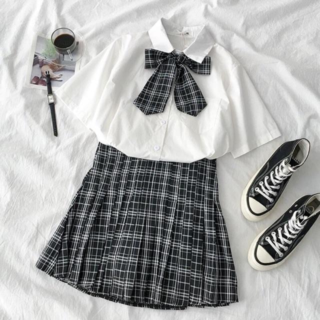 Sét sơ mi thắt nơ + chân váy kẻ Hàn Quốc