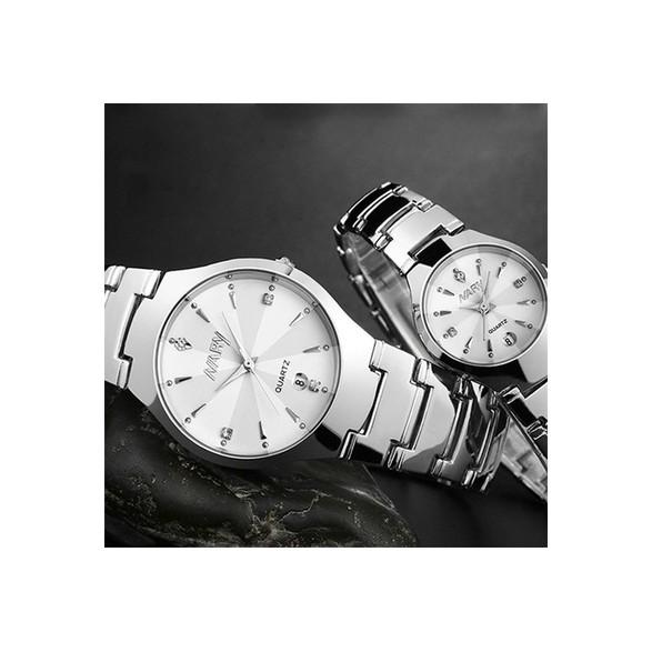 Đồng hồ cho nam và nữ Nary 2 màu đen trắng