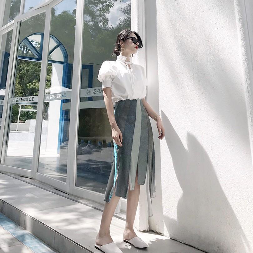 Set Áo Sơ Mi Tay Phồng Cổ Lọ + Chân Váy Lưng Cao Lệch Tà Thời Trang