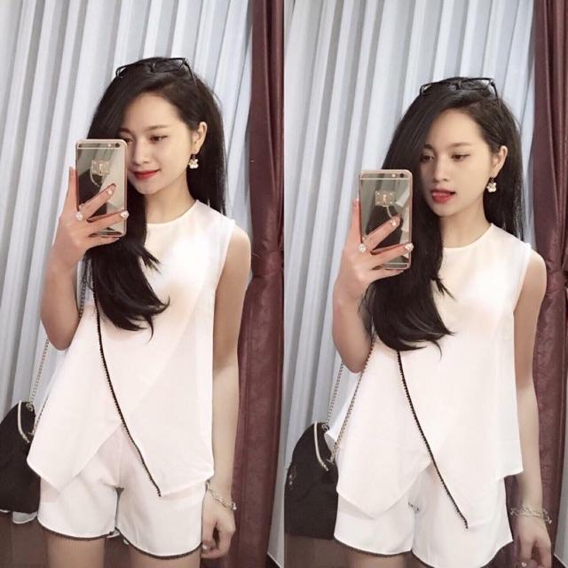Sét áo + quần sooc lưng cao viền ren 390k Đen , trắng Sz s m Đổ sỉ ☎️0983.225.390