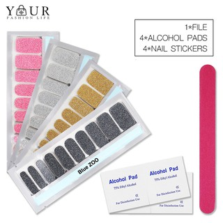 4Sheets Solid Color Nail Stickers with Alcohol Pad File Polish Strips