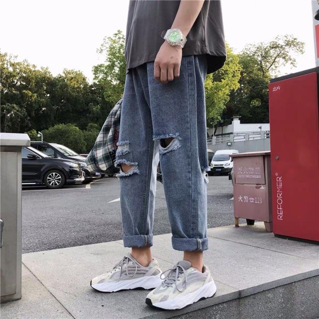 [Hàng đặt trước] Quần jean rách nam màu xanh