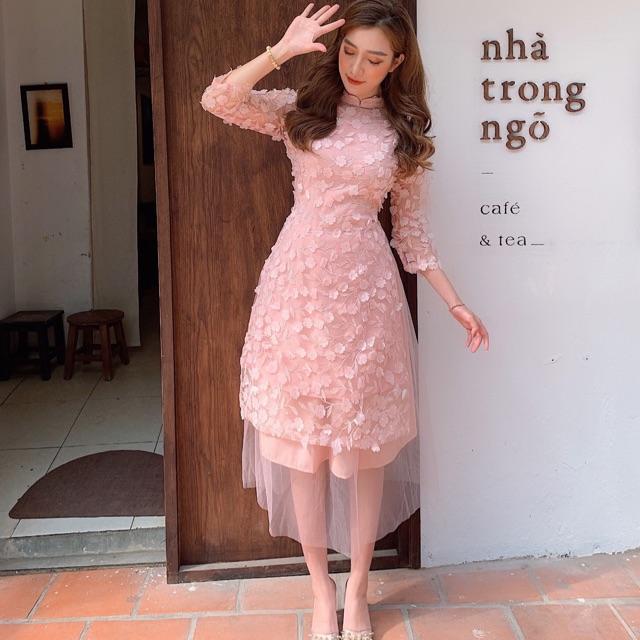 Áo dài cách tân mẫu thiết kế cực đẹp hàng cao cấp dạng váy(kèm cả chân váy) - Áo dài cách tân cực đẹp mặc tết lễ hội