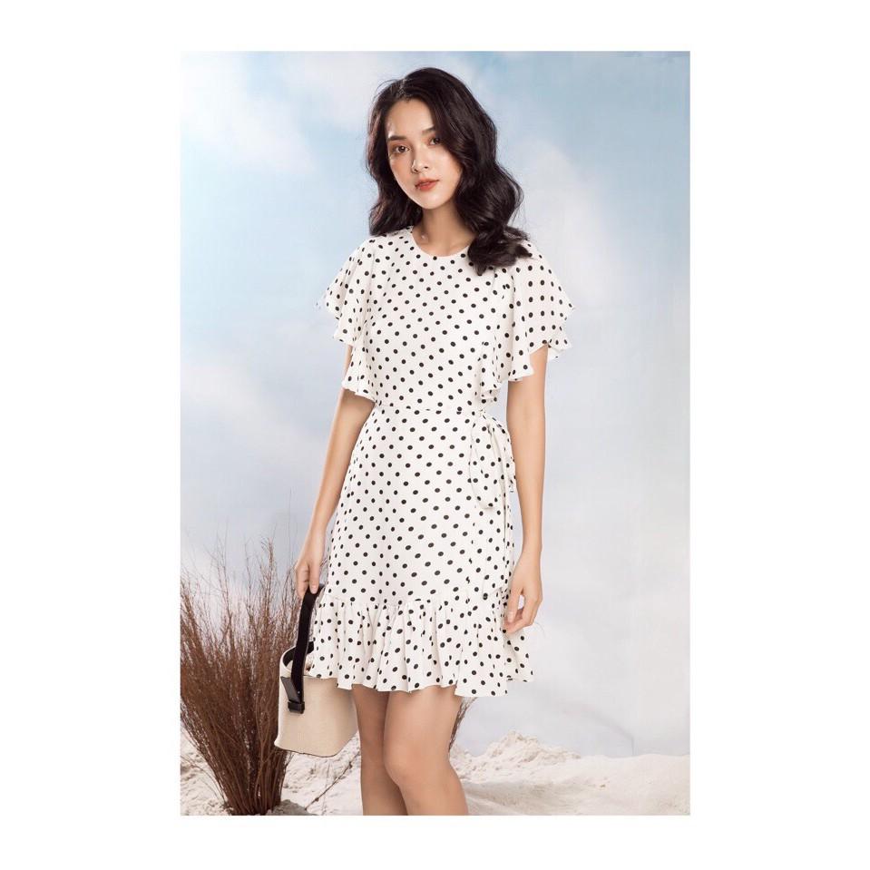 [GIÁ SỐC] Đầm Nữ-Đầm Xòe Chấm Bi Đuôi Cá - Trắng
