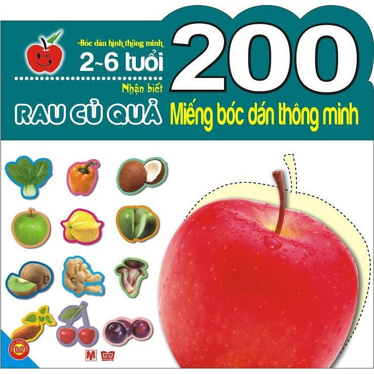 Sách - 200 miếng bóc dán thông minh - nhận biết rau củ quả (2-6 tuổi)