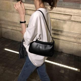 Women's Korean Style Solid Color PU Axillary Package Simple Casual Shoulder Bag