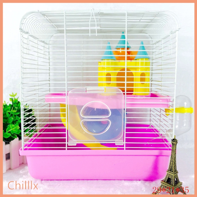 Portable Small Size Pet Cage with Castle Shape Toy for Hamsters
