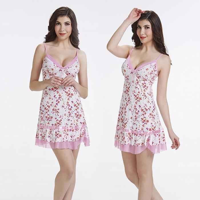 Váy ngủ thun nữ 2 dây viền hồng