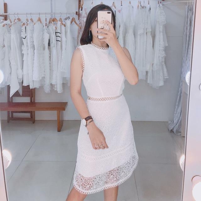 [ hình thật ] đầm thiết kế ren trắng - đi tiệc - dạo phố
