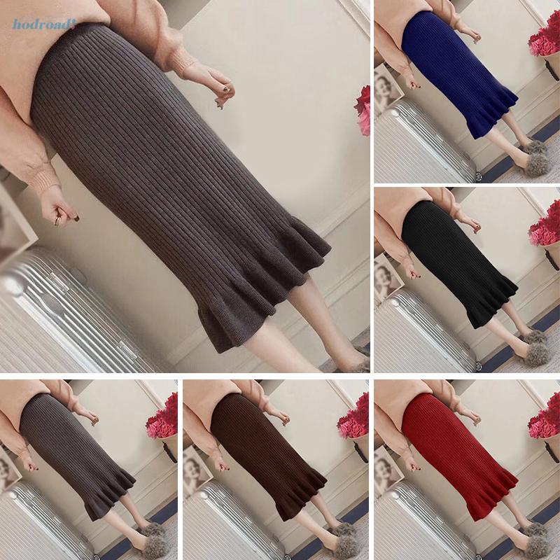 Chân váy ôm dáng co giãn màu trơn phối bèo thời trang mùa đông cho nữ