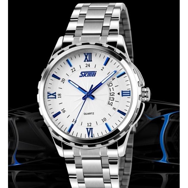 [Mã WTCHJAN giảm 20K ] Đồng hồ nam Skmei sành điệu kim xanh