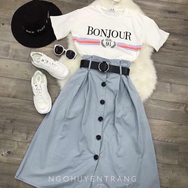 Chân váy và áo chữ Bonjour