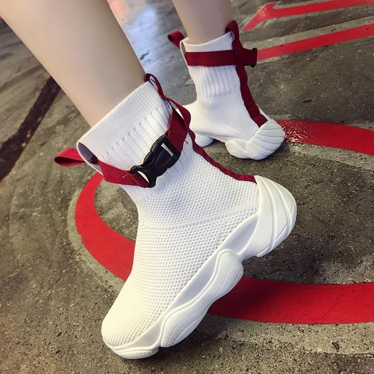 Giày cao cổ Martin trắng phối lưới phong cách học sinh trẻ trung năng động