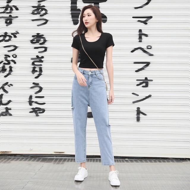 Quần jeans dài form suông xẻ rách nhẹ