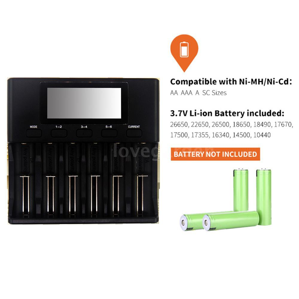 LiitoKala Lii-S6 Battery Charger 6 Slots 4 Currents Auto-Polarity Detect for 18650 26650 21700 32650 AA AAA Batteri