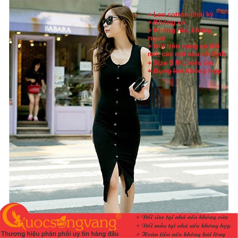 Váy đầm len màu đen váy đầm ôm xẻ trước GLV161