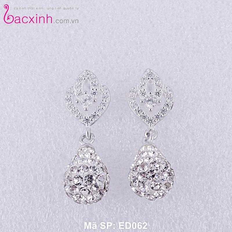 Bông tai bạc nữ trang sức bạc Ý S925 Bạc Xinh ED062