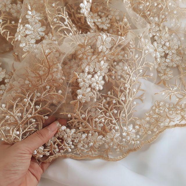 Combo thảo lê 1.5 ren vàng,2m lụa trắng 1m ren tím