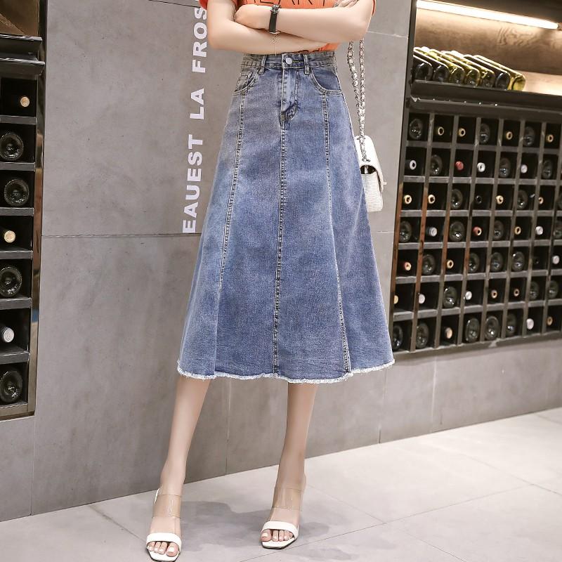 chân váy denim chữ a lưng cao thời trang dành cho nữ