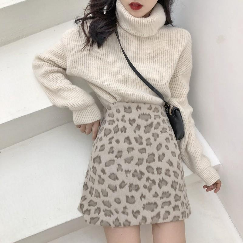 Chân Váy Chữ A Lưng Cao Họa Tiết Da Báo Phong Cách Retro Hàn Quốc