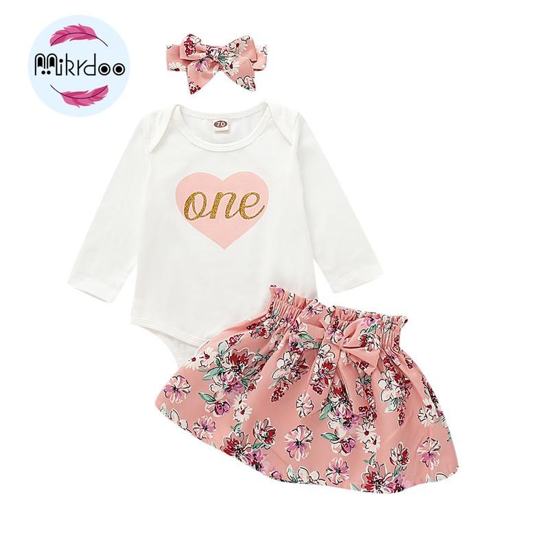 Bộ áo liền quần tay dài + chân váy + băng đô cho bé