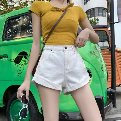 Quần Jeans Nữ Lưng Cao Ống Rộng Co Giãn 4 Màu Thời Trang
