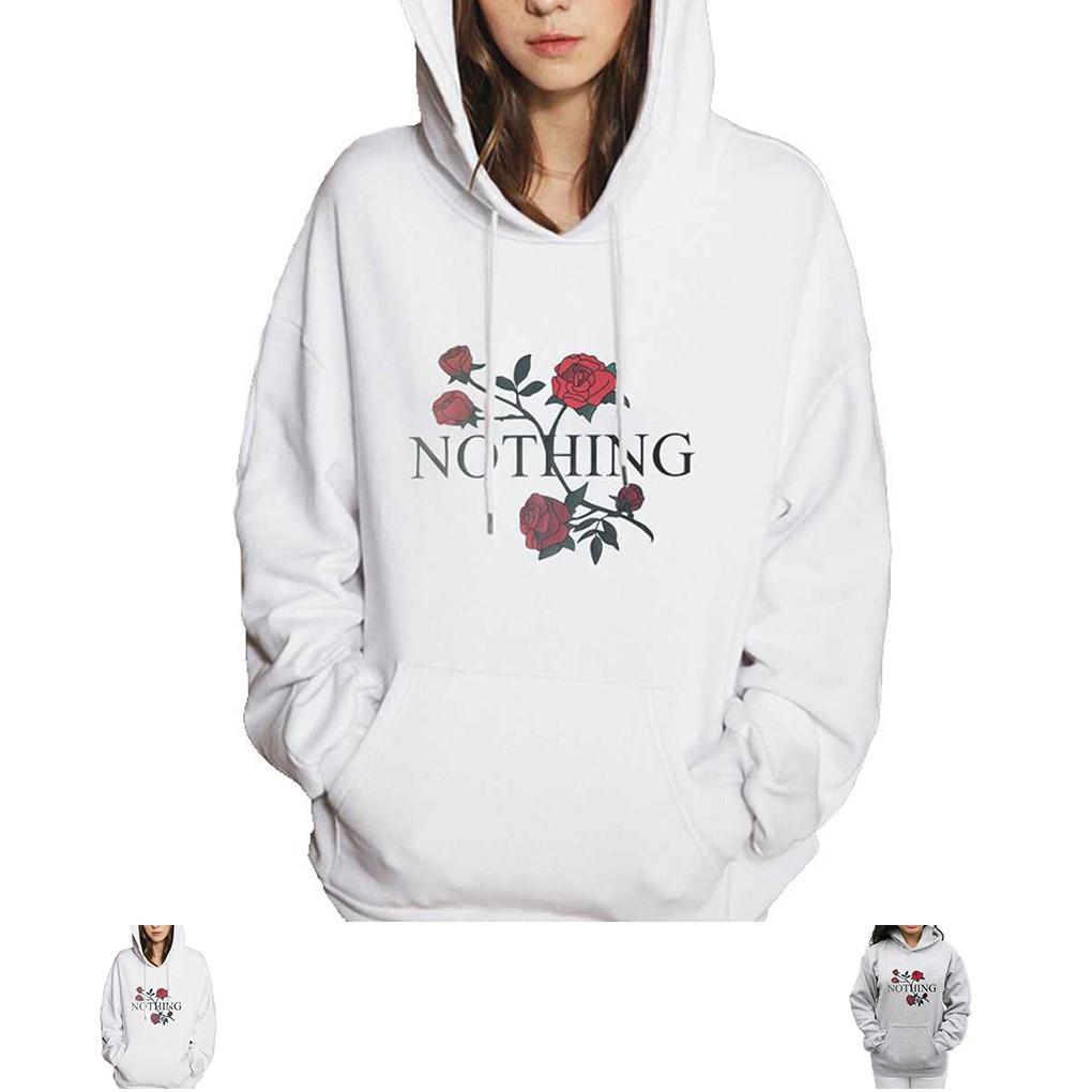 Áo Hoodies có túi tay dài dáng rộng hoạ tiết hoa in cá tính cho phái nữ