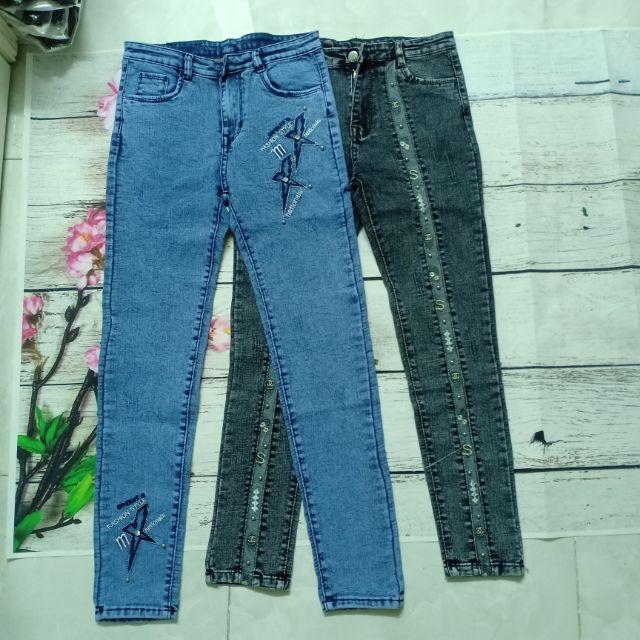 Quần jeans lưng cao đính bi co giãn rất đẹp