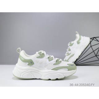 Hình ảnh Authentic Fila Ray Tracer Men Women Sports Running Walking Casual shoes white green