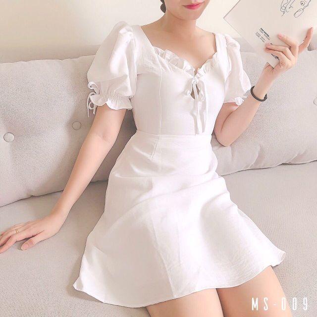 Đầm trắng đơn giản, đầm trắng xòe tay phồng