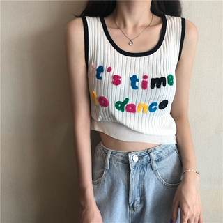 Hình ảnh Cute Bubble Three-dimensional Letter Embroidery U-neck Tank Top Women's Elastic Contrast Color Knitted Sleeveless Top